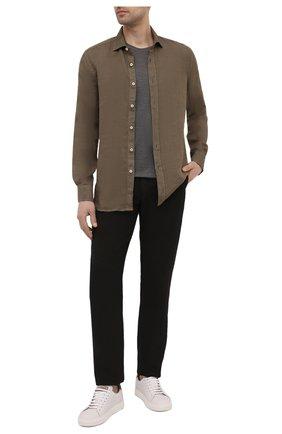 Мужские льняные брюки 120% LINO черного цвета, арт. T0M299M/0253/000 | Фото 2 (Длина (брюки, джинсы): Стандартные; Материал внешний: Лен; Случай: Повседневный; Стили: Кэжуэл)