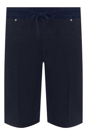 Мужские льняные шорты 120% LINO темно-синего цвета, арт. T0M2120/0253/000 | Фото 1 (Мужское Кросс-КТ: Шорты-одежда; Длина Шорты М: До колена; Принт: Без принта; Материал внешний: Лен; Стили: Кэжуэл)