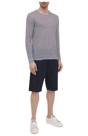 Мужские льняные шорты 120% LINO темно-синего цвета, арт. T0M2120/0253/000 | Фото 2 (Мужское Кросс-КТ: Шорты-одежда; Длина Шорты М: До колена; Принт: Без принта; Материал внешний: Лен; Стили: Кэжуэл)