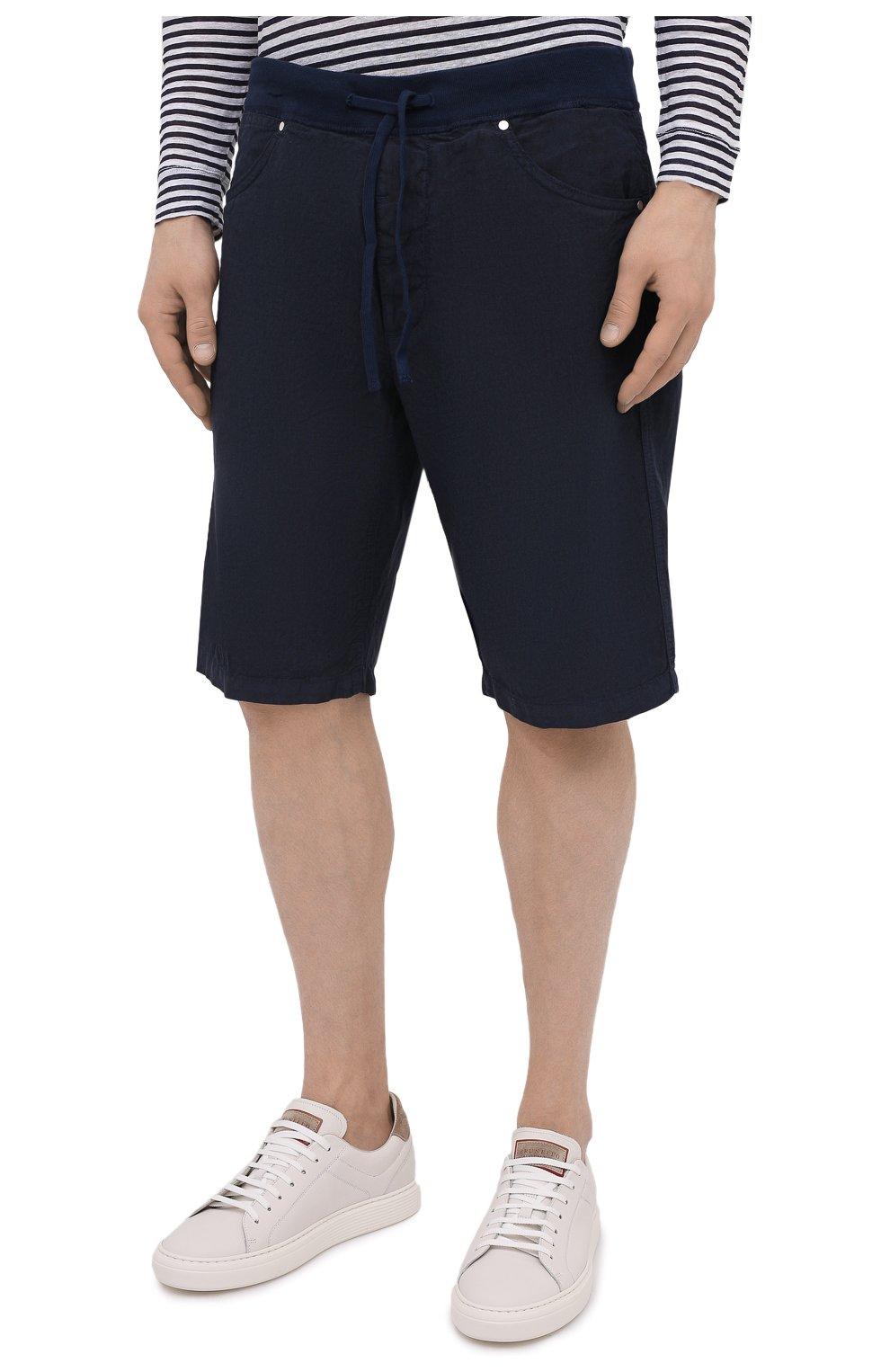 Мужские льняные шорты 120% LINO темно-синего цвета, арт. T0M2120/0253/000 | Фото 3 (Мужское Кросс-КТ: Шорты-одежда; Длина Шорты М: До колена; Принт: Без принта; Материал внешний: Лен; Стили: Кэжуэл)
