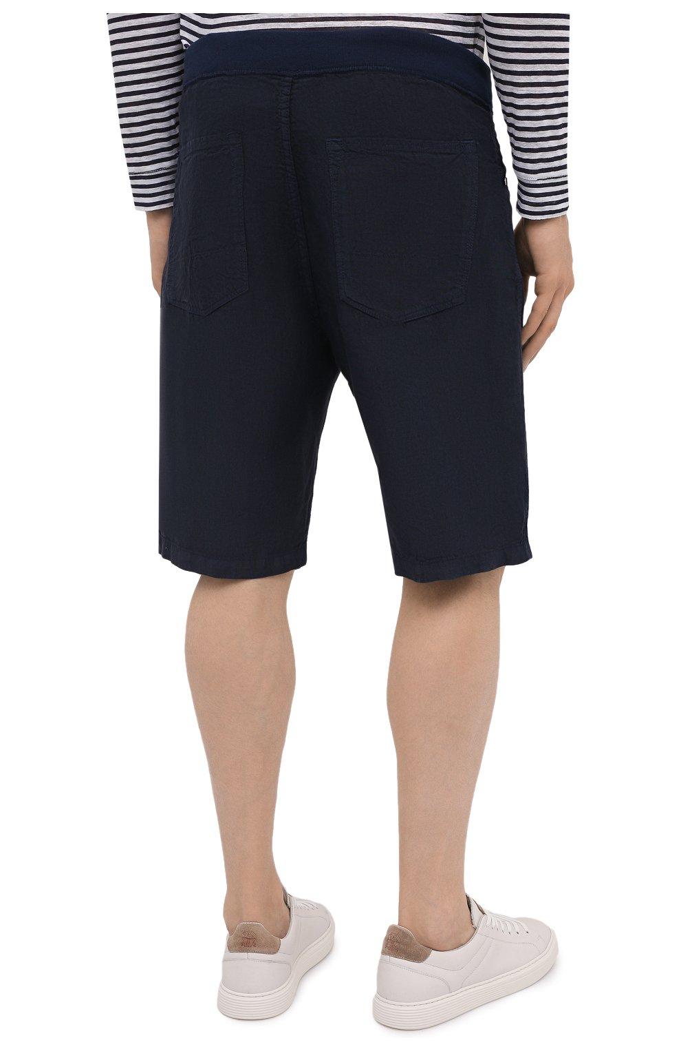 Мужские льняные шорты 120% LINO темно-синего цвета, арт. T0M2120/0253/000 | Фото 4 (Мужское Кросс-КТ: Шорты-одежда; Длина Шорты М: До колена; Принт: Без принта; Материал внешний: Лен; Стили: Кэжуэл)
