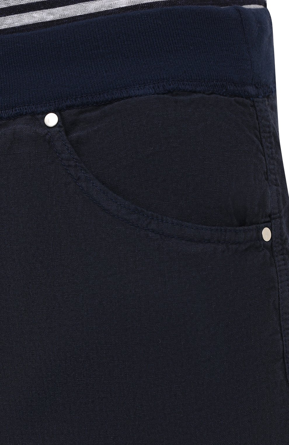 Мужские льняные шорты 120% LINO темно-синего цвета, арт. T0M2120/0253/000 | Фото 5 (Мужское Кросс-КТ: Шорты-одежда; Длина Шорты М: До колена; Принт: Без принта; Материал внешний: Лен; Стили: Кэжуэл)