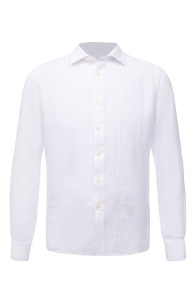 Мужская льняная рубашка 120% LINO белого цвета, арт. T0M19GU/F924/000 | Фото 1