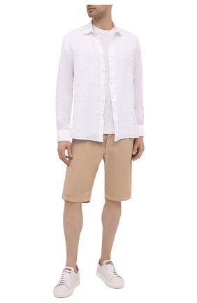 Мужская льняная рубашка 120% LINO белого цвета, арт. T0M19GU/F924/000 | Фото 2