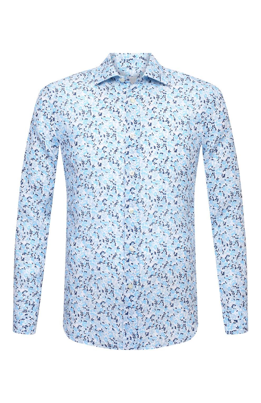 Мужская льняная рубашка 120% LINO голубого цвета, арт. T0M1311/F980/000 | Фото 1 (Манжеты: На пуговицах; Рукава: Длинные; Воротник: Акула; Случай: Повседневный; Длина (для топов): Стандартные; Принт: С принтом; Материал внешний: Лен; Стили: Кэжуэл)
