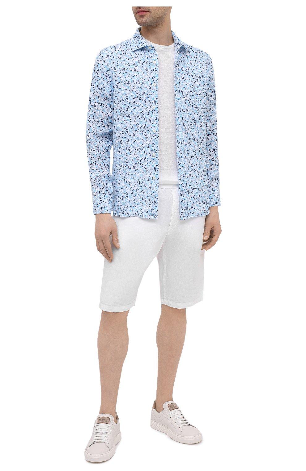 Мужская льняная рубашка 120% LINO голубого цвета, арт. T0M1311/F980/000 | Фото 2 (Манжеты: На пуговицах; Рукава: Длинные; Воротник: Акула; Случай: Повседневный; Длина (для топов): Стандартные; Принт: С принтом; Материал внешний: Лен; Стили: Кэжуэл)