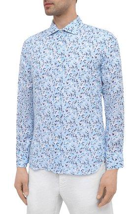 Мужская льняная рубашка 120% LINO голубого цвета, арт. T0M1311/F980/000 | Фото 3 (Манжеты: На пуговицах; Рукава: Длинные; Воротник: Акула; Случай: Повседневный; Длина (для топов): Стандартные; Принт: С принтом; Материал внешний: Лен; Стили: Кэжуэл)
