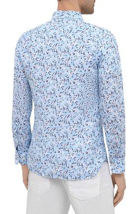 Мужская льняная рубашка 120% LINO голубого цвета, арт. T0M1311/F980/000 | Фото 4 (Манжеты: На пуговицах; Рукава: Длинные; Воротник: Акула; Случай: Повседневный; Длина (для топов): Стандартные; Принт: С принтом; Материал внешний: Лен; Стили: Кэжуэл)