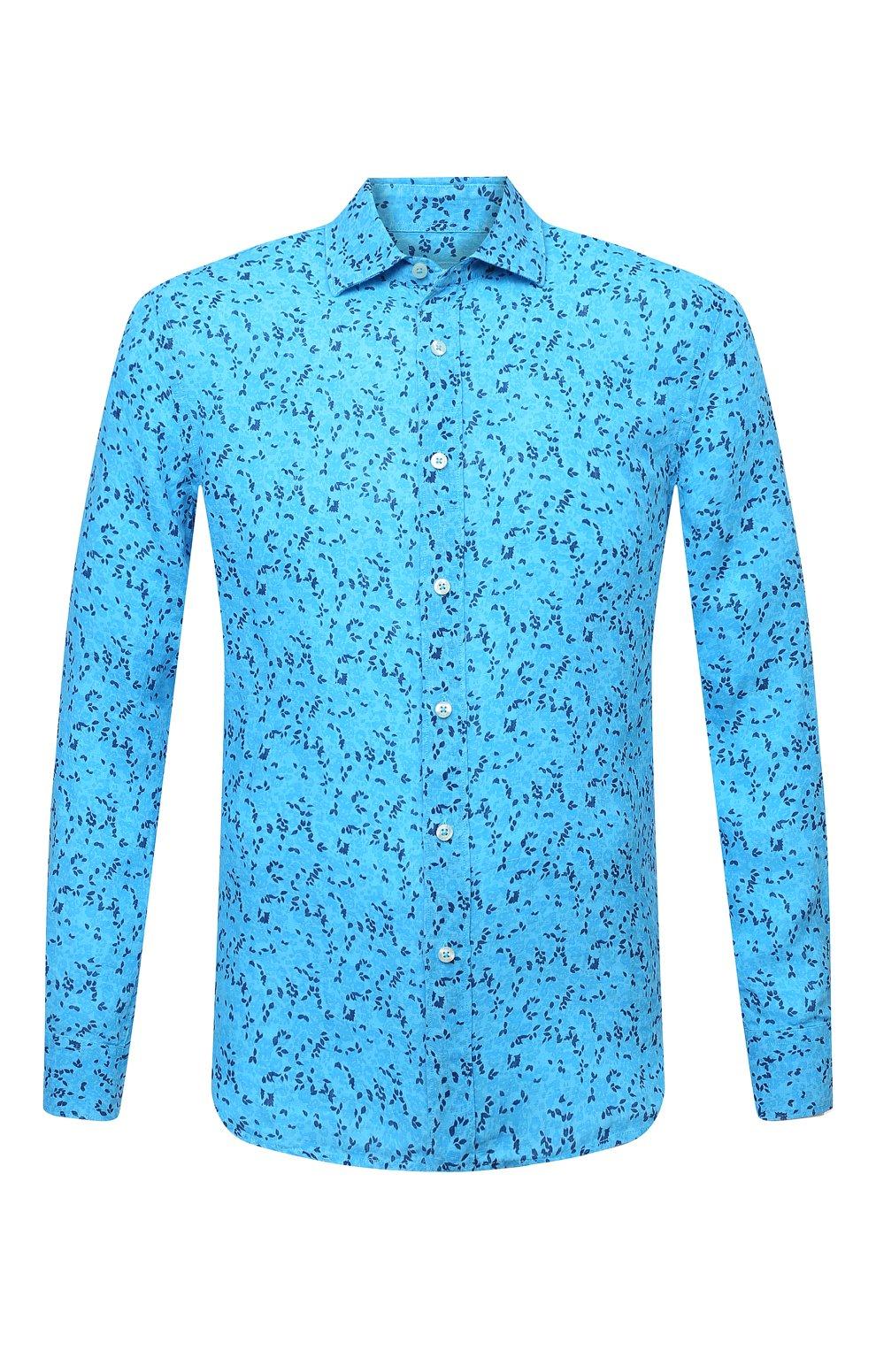 Мужская льняная рубашка 120% LINO синего цвета, арт. T0M1311/F980/000   Фото 1 (Манжеты: На пуговицах; Рукава: Длинные; Воротник: Акула; Случай: Повседневный; Длина (для топов): Стандартные; Принт: С принтом; Материал внешний: Лен; Стили: Кэжуэл)
