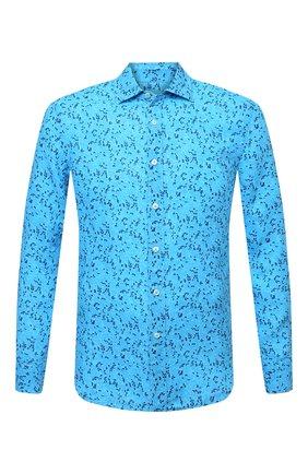 Мужская льняная рубашка 120% LINO синего цвета, арт. T0M1311/F980/000 | Фото 1