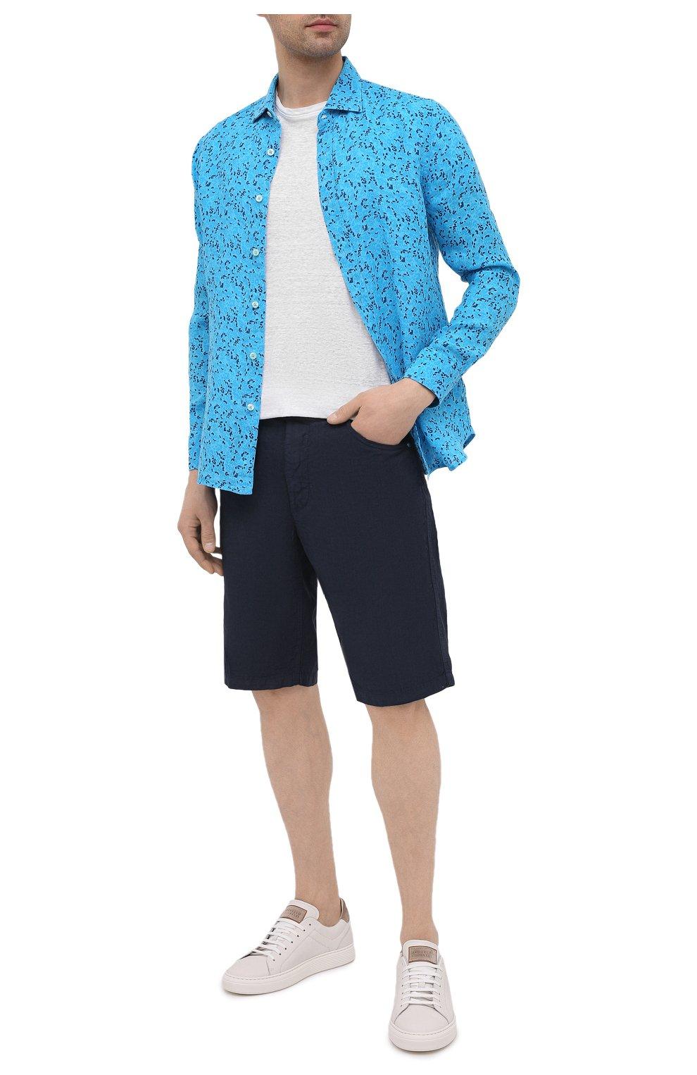 Мужская льняная рубашка 120% LINO синего цвета, арт. T0M1311/F980/000   Фото 2 (Манжеты: На пуговицах; Рукава: Длинные; Воротник: Акула; Случай: Повседневный; Длина (для топов): Стандартные; Принт: С принтом; Материал внешний: Лен; Стили: Кэжуэл)