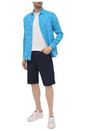Мужская льняная рубашка 120% LINO синего цвета, арт. T0M1311/F980/000 | Фото 2