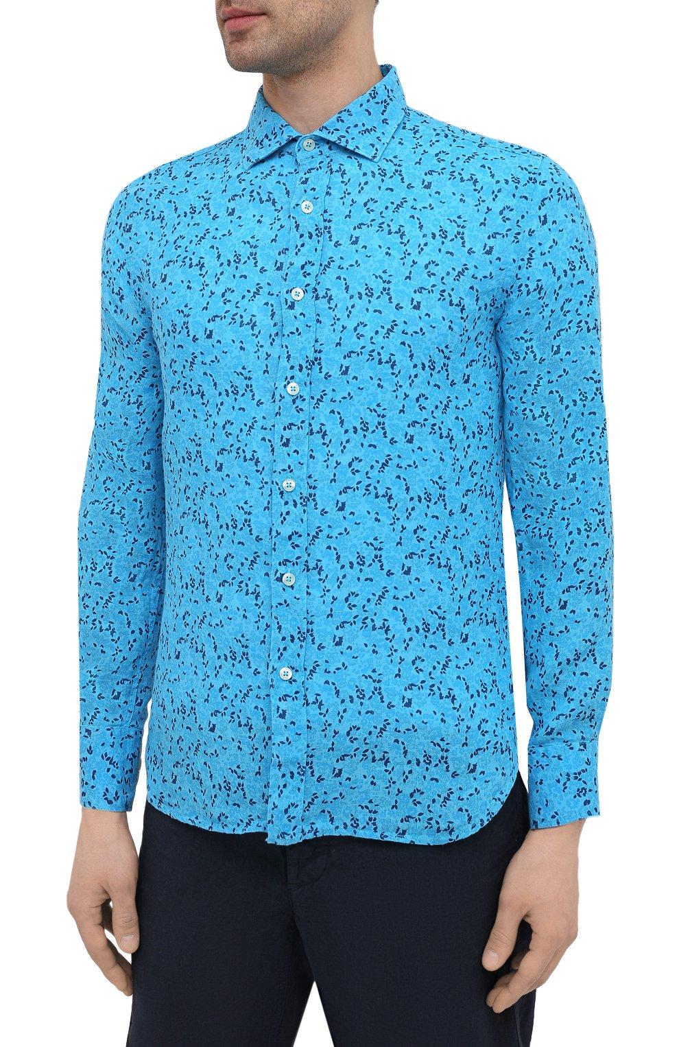 Мужская льняная рубашка 120% LINO синего цвета, арт. T0M1311/F980/000   Фото 3 (Манжеты: На пуговицах; Рукава: Длинные; Воротник: Акула; Случай: Повседневный; Длина (для топов): Стандартные; Принт: С принтом; Материал внешний: Лен; Стили: Кэжуэл)
