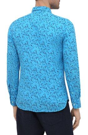 Мужская льняная рубашка 120% LINO синего цвета, арт. T0M1311/F980/000   Фото 4 (Манжеты: На пуговицах; Рукава: Длинные; Воротник: Акула; Случай: Повседневный; Длина (для топов): Стандартные; Принт: С принтом; Материал внешний: Лен; Стили: Кэжуэл)