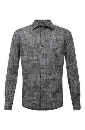 Мужская льняная рубашка 120% LINO темно-серого цвета, арт. T0M1311/F970/S00 | Фото 1