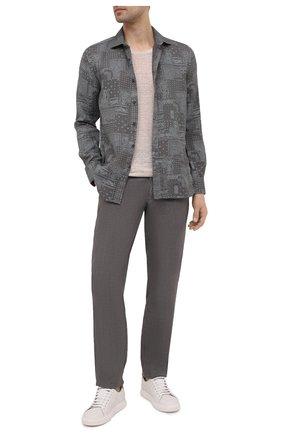 Мужская льняная рубашка 120% LINO темно-серого цвета, арт. T0M1311/F970/S00 | Фото 2
