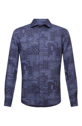 Мужская льняная рубашка 120% LINO темно-синего цвета, арт. T0M1311/F970/S00 | Фото 1