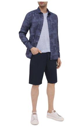 Мужская льняная рубашка 120% LINO темно-синего цвета, арт. T0M1311/F970/S00 | Фото 2