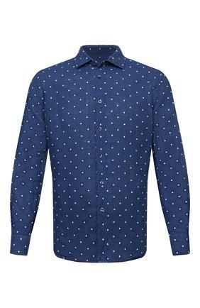 Мужская льняная рубашка 120% LINO синего цвета, арт. T0M1311/E727/000 | Фото 1