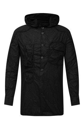 Мужская хлопковая рубашка MASNADA черного цвета, арт. M2661 | Фото 1 (Манжеты: На пуговицах; Воротник: С капюшоном; Рукава: Длинные; Случай: Повседневный; Стили: Панк; Длина (для топов): Стандартные; Материал внешний: Хлопок; Принт: Однотонные)