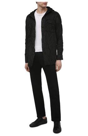 Мужская хлопковая рубашка MASNADA черного цвета, арт. M2661 | Фото 2 (Манжеты: На пуговицах; Воротник: С капюшоном; Рукава: Длинные; Случай: Повседневный; Стили: Панк; Длина (для топов): Стандартные; Материал внешний: Хлопок; Принт: Однотонные)