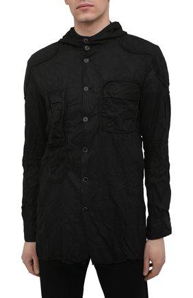 Мужская хлопковая рубашка MASNADA черного цвета, арт. M2661 | Фото 3 (Манжеты: На пуговицах; Воротник: С капюшоном; Рукава: Длинные; Случай: Повседневный; Стили: Панк; Длина (для топов): Стандартные; Материал внешний: Хлопок; Принт: Однотонные)