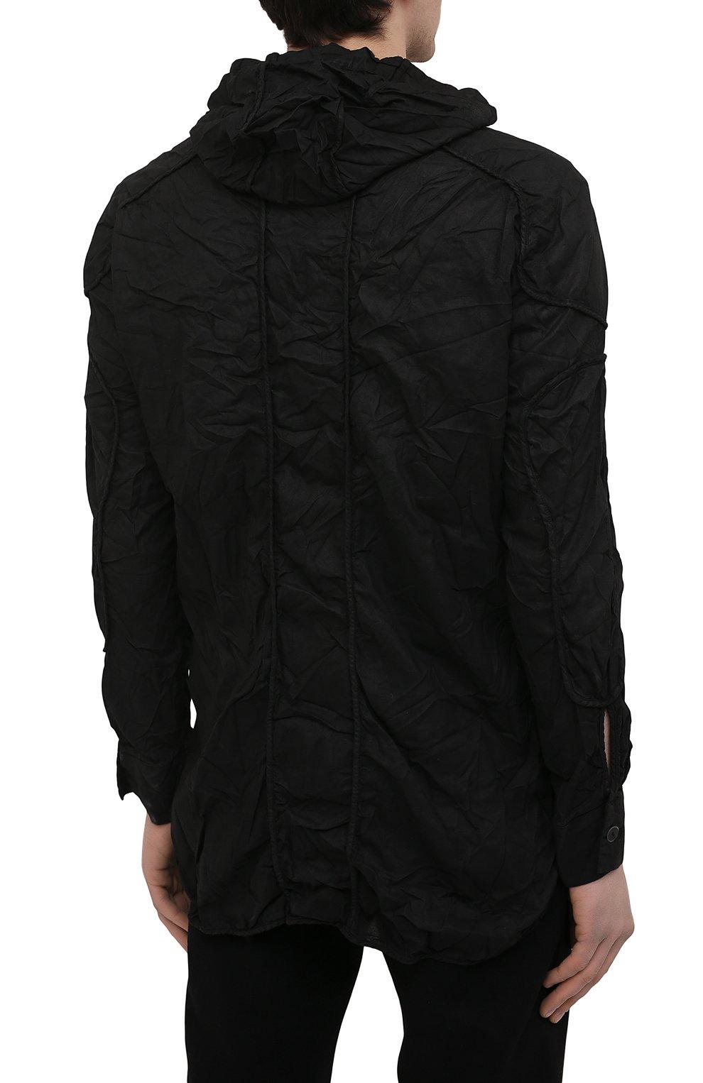 Мужская хлопковая рубашка MASNADA черного цвета, арт. M2661 | Фото 4 (Манжеты: На пуговицах; Воротник: С капюшоном; Рукава: Длинные; Случай: Повседневный; Стили: Панк; Длина (для топов): Стандартные; Материал внешний: Хлопок; Принт: Однотонные)