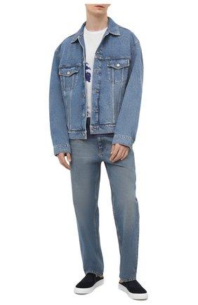 Мужские текстильные сабо KENZO темно-синего цвета, арт. FB55SN105F70 | Фото 2 (Материал внутренний: Натуральная кожа, Текстиль; Материал внешний: Текстиль)