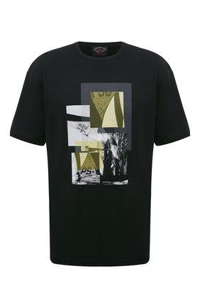 Мужская хлопковая футболка PAUL&SHARK черного цвета, арт. 21411105/C00/3XL-6XL | Фото 1