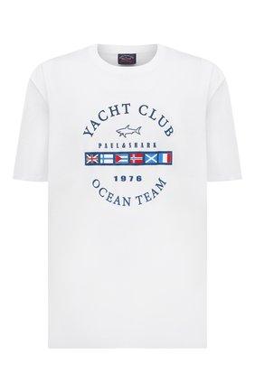 Мужская хлопковая футболка PAUL&SHARK белого цвета, арт. 21411096/C00/3XL-6XL   Фото 1