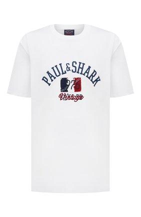Мужская хлопковая футболка PAUL&SHARK белого цвета, арт. 21411076/C00/3XL-6XL | Фото 1