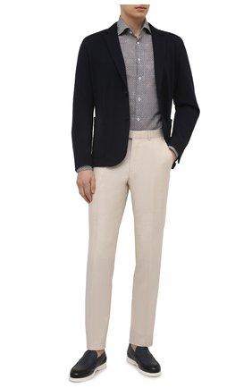 Мужская рубашка изо льна и хлопка VAN LAACK разноцветного цвета, арт. RIVARA-SF10/171683 | Фото 2 (Материал внешний: Хлопок, Лен; Рукава: Длинные; Длина (для топов): Стандартные; Случай: Повседневный; Принт: С принтом; Рубашки М: Slim Fit; Манжеты: На пуговицах; Стили: Классический; Воротник: Акула)