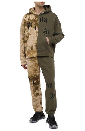 Мужской хлопковое худи PALM ANGELS хаки цвета, арт. PMBB097R21FLE0025684 | Фото 2