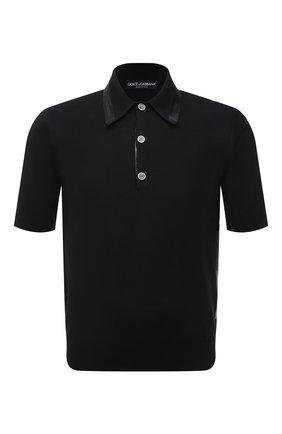 Мужское поло из шелка и хлопка DOLCE & GABBANA черного цвета, арт. GXD90T/JBMI3 | Фото 1