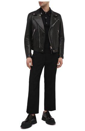 Мужское поло из шелка и хлопка DOLCE & GABBANA черного цвета, арт. GXD90T/JBMI3 | Фото 2