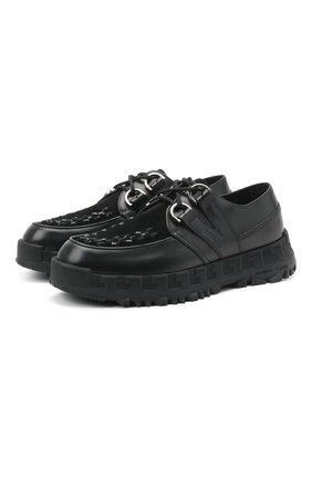 Мужские комбинированные ботинки greca rhegis VERSACE черного цвета, арт. DSU8417/DB4G | Фото 1 (Материал внутренний: Натуральная кожа; Мужское Кросс-КТ: Ботинки-обувь; Каблук высота: Высокий; Подошва: Массивная)