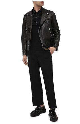 Мужские комбинированные ботинки greca rhegis VERSACE черного цвета, арт. DSU8417/DB4G | Фото 2 (Материал внутренний: Натуральная кожа; Мужское Кросс-КТ: Ботинки-обувь; Каблук высота: Высокий; Подошва: Массивная)