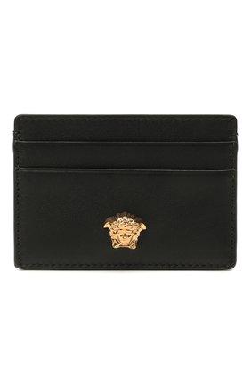 Мужской кожаный футляр для кредитных карт VERSACE черного цвета, арт. DPN2467/DVT8ME | Фото 1