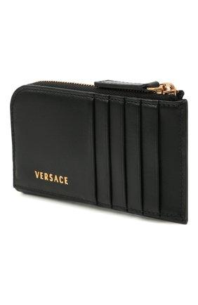 Мужской кожаный кошелек для монет VERSACE черного цвета, арт. DP38435/DVTMED | Фото 2