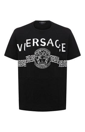 Мужская хлопковая футболка VERSACE черного цвета, арт. A86893/A228806 | Фото 1 (Материал внешний: Хлопок; Рукава: Короткие; Длина (для топов): Стандартные; Принт: С принтом; Стили: Кэжуэл)