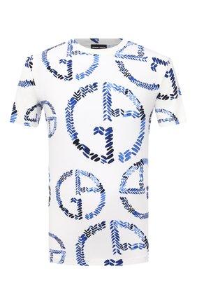 Мужская футболка из вискозы GIORGIO ARMANI белого цвета, арт. 3KST55/SJMIZ   Фото 1