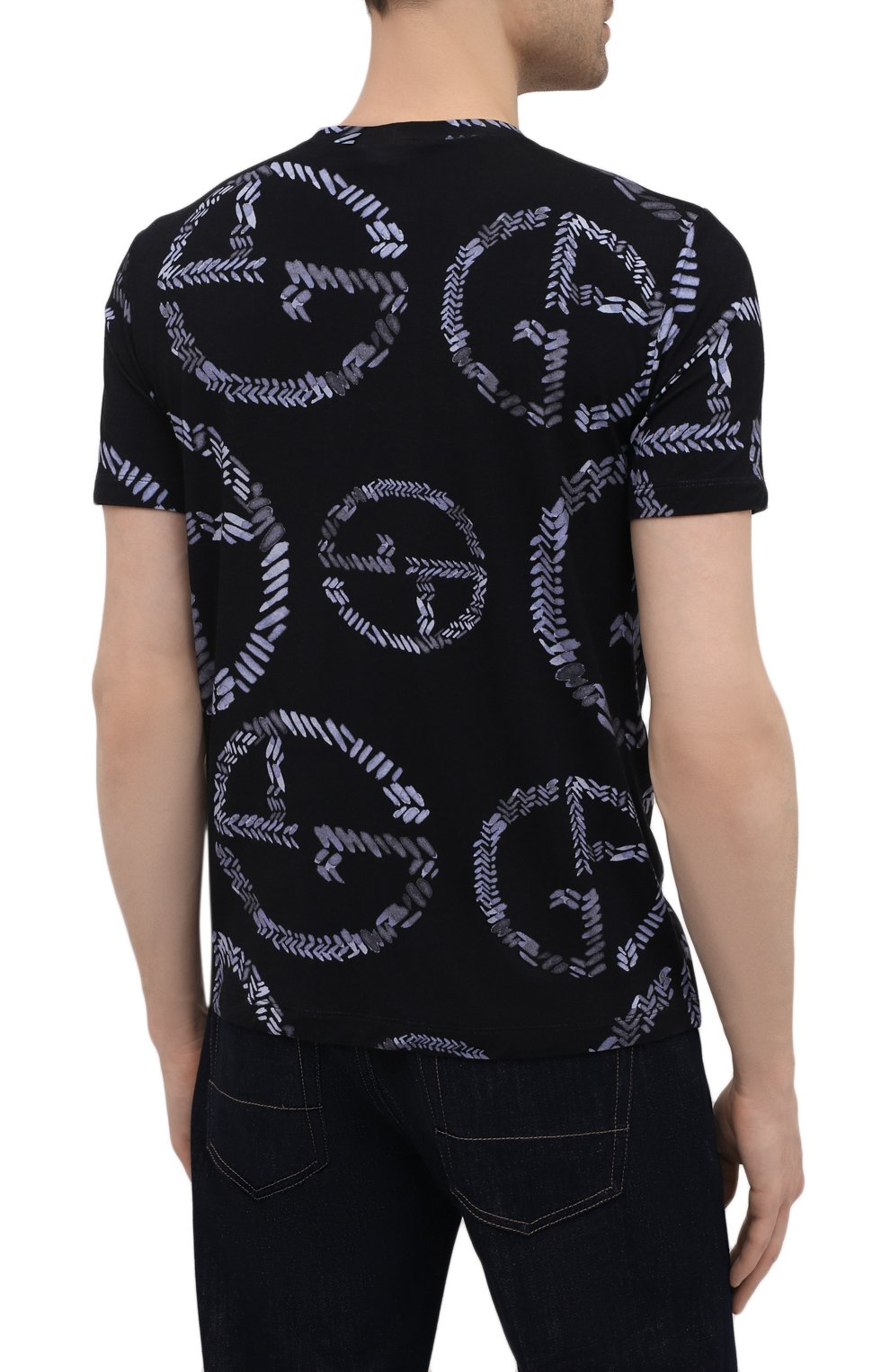 Мужская футболка из вискозы GIORGIO ARMANI темно-синего цвета, арт. 3KST55/SJMIZ   Фото 4
