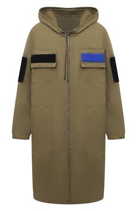Мужская парка DRIES VAN NOTEN хаки цвета, арт. 211-20517-2312 | Фото 1 (Материал внешний: Синтетический материал; Стили: Минимализм; Рукава: Длинные; Длина (верхняя одежда): Длинные; Кросс-КТ: Куртка)