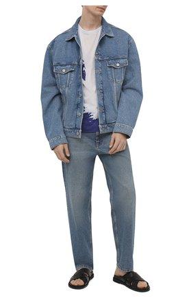 Мужская хлопковая футболка DRIES VAN NOTEN синего цвета, арт. 211-21103-2608 | Фото 2