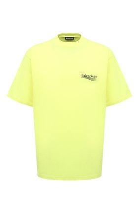 Мужская хлопковая футболка BALENCIAGA желтого цвета, арт. 641675/TJVF7 | Фото 1 (Длина (для топов): Удлиненные; Рукава: Короткие; Материал внешний: Хлопок; Принт: С принтом; Стили: Гранж)