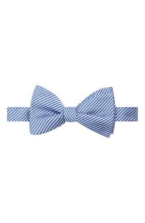 Мужской галстук-бабочка из шелка и хлопка LANVIN темно-синего цвета, арт. 2133/B0W TIE | Фото 1