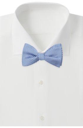 Мужской галстук-бабочка из шелка и хлопка LANVIN темно-синего цвета, арт. 2133/B0W TIE | Фото 2