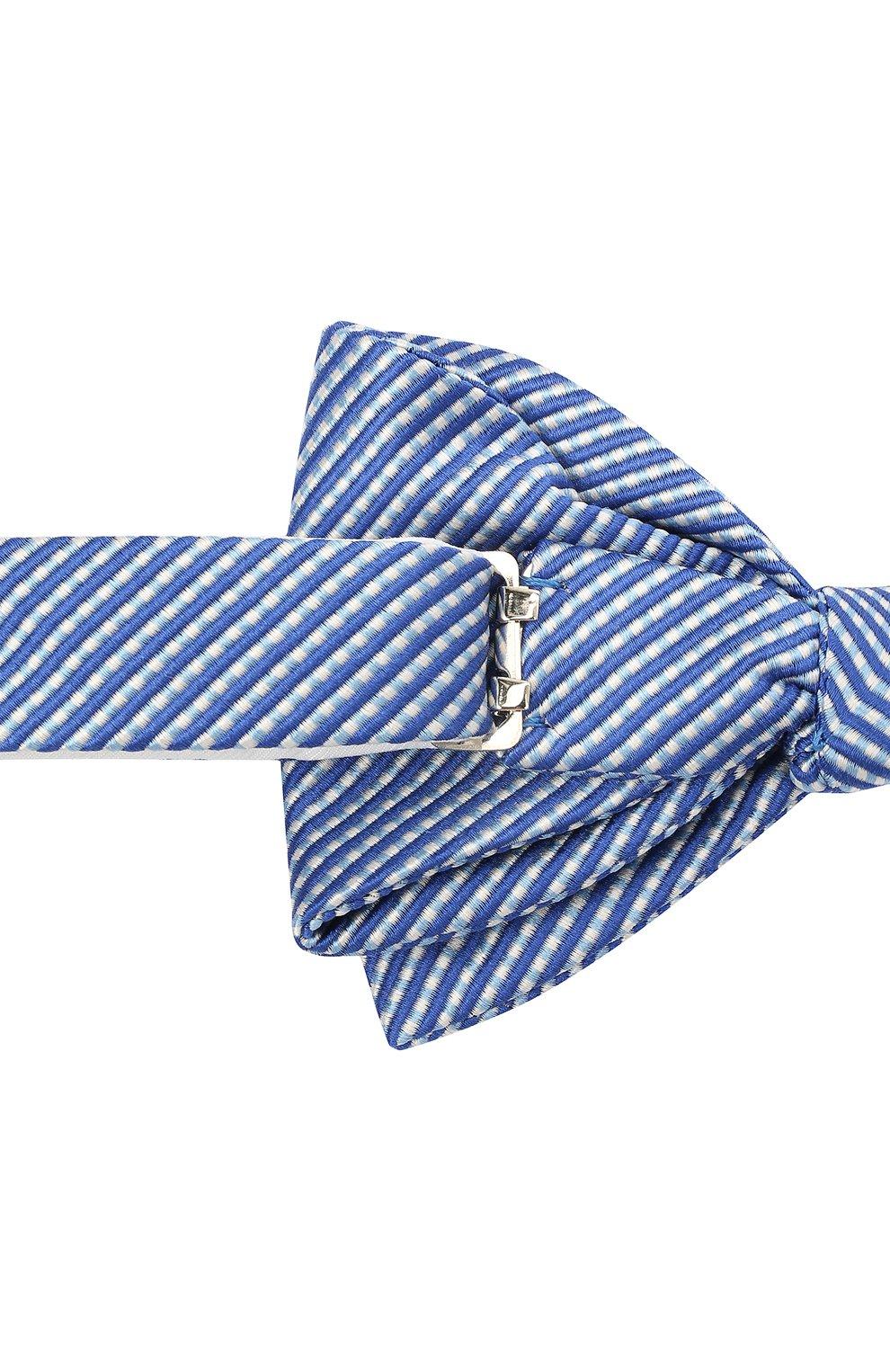 Мужской галстук-бабочка из шелка и хлопка LANVIN темно-синего цвета, арт. 2133/B0W TIE | Фото 3