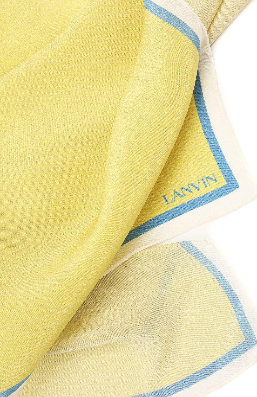 Мужской шелковый платок LANVIN желтого цвета, арт. 2803/HANDKERCHIEF   Фото 2