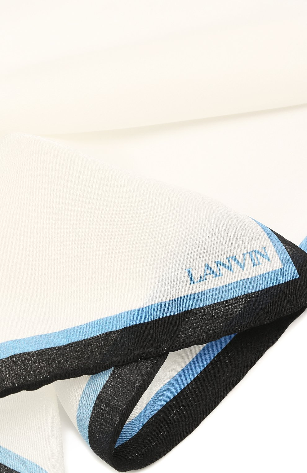 Мужской шелковый платок LANVIN белого цвета, арт. 2803/HANDKERCHIEF   Фото 2
